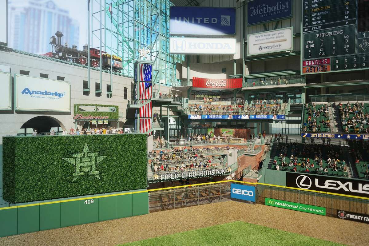 A rendering of what center field will look like at the Astros' Minute Maid Park in 2017 when Tal's Hill is removed.