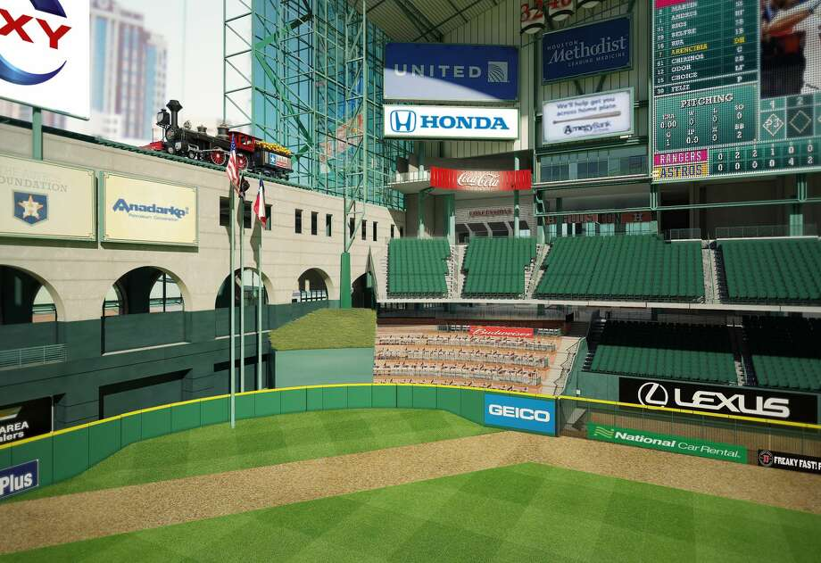 What center field at Minute Maid Park currently looks like with Tal's Hill. Photo: Houston Astros, Minute Maid Park Changes