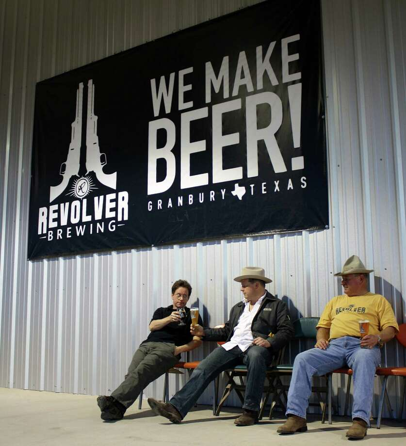 Revolver Brewing Co. of Granbury announced Aug. 11, 2016, that it is being acquired by the craft and import division of MillerCoors. The owners, from left, Grant Wood, Rhett Keisler and Ronnie Keisler. Photo: Revolver Brewing Co.