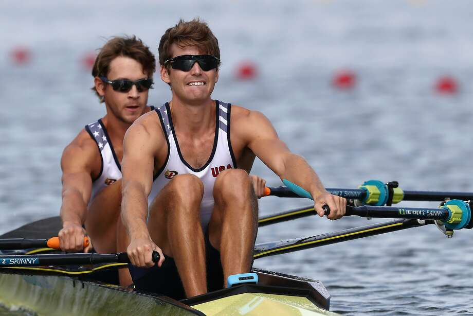 Josh Konieczny and Andrew Campbell Jr. of the United States compete in the Lightweight Men's Double Sculls Semi Final on Day 6 of the 2016 Rio Olympics at Lagoa Stadium on August 11, 2016 in Rio de Janeiro, Brazil.  (Photo by Alexander Hassenstein/Getty Images) Photo: Alexander Hassenstein, Getty Images
