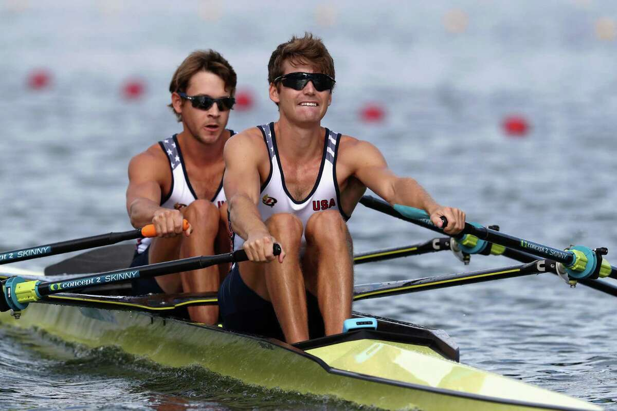 RIO DE JANEIRO, BRAZIL - AUGUST 11: Josh Konieczny and Andrew Campbell Jr. of the United States compete in the Lightweight Men's Double Sculls Semi Final on Day 6 of the 2016 Rio Olympics at Lagoa Stadium on August 11, 2016 in Rio de Janeiro, Brazil. (Photo by Alexander Hassenstein/Getty Images)