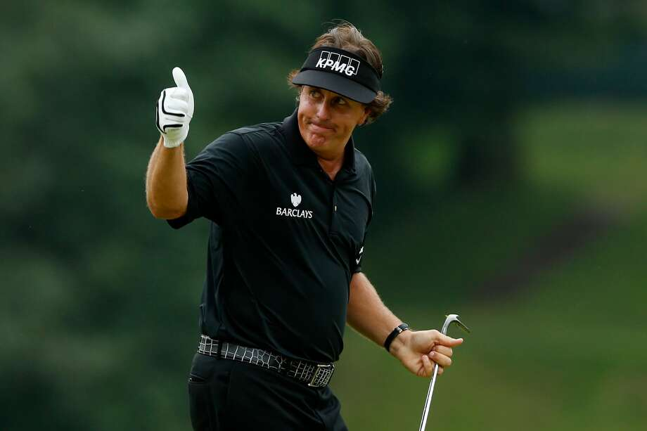 ARDMORE, PA - JUNE 16:  Phil Mickelson of the United States celebrates making a shot for eagle on the tenth hole during the final round of the 113th U.S. Open at Merion Golf Club on June 16, 2013 in Ardmore, Pennsylvania.  (Photo by Scott Halleran/Getty Images) Photo: Scott Halleran/Getty Images