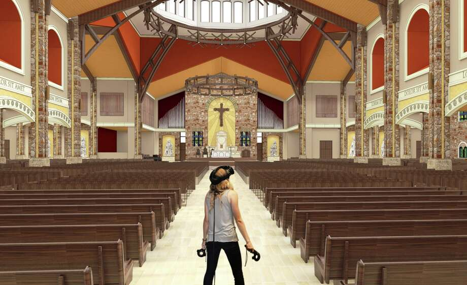 Registering the scale of a space has been a problem with past presentation processes in architecture. With virtual reality, a client can get a good idea how tall the ceilings are and how vast the space is in a church design. Photo: Photo Illustration Courtesy Carlos Lucio / Marmon Mok