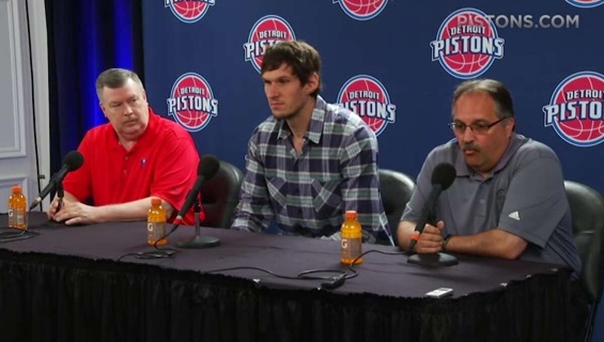 Detroit Pistons center Boban Marjanovic is introduced during a press conference. Mrjanovic was formerly with the San Antonio Spurs.