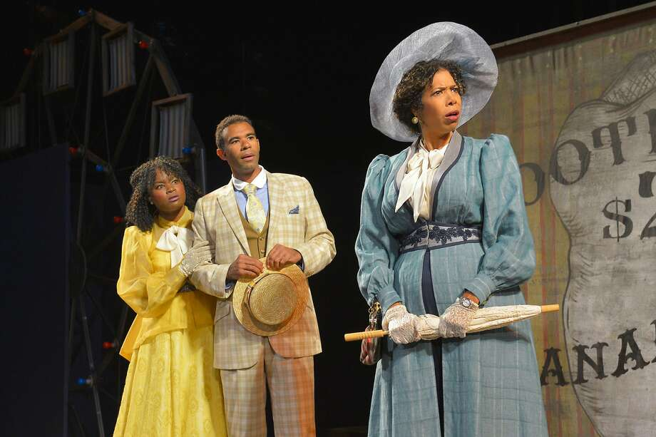 "Khalia Davis (left) as Dolly, Lance Gardner as Philip and Elizabeth Carter as Mrs. Clandon in ""You Never Can Tell."" Photo: Kevin Berne, Cal Shakes"