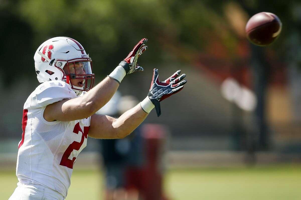 Linebacker Sean Barton at Stanford's practice field.