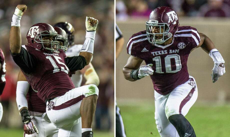 At left, in a Nov. 14, 2015, file photos, Texas A&M's Myles Garrett reacts during the first half against Western Carolina, in College Station. At right, also in a Nov. 14, 2015, file photo, A&M's Daeshon Hall moves in on a play during the first half against Western Carolina, in College Station. A&M's defense should be just fine with Garrett and Hall teaming to form perhaps the best defensive end duo in the country. Photo: Juan DeLeon /Associated Press / AP