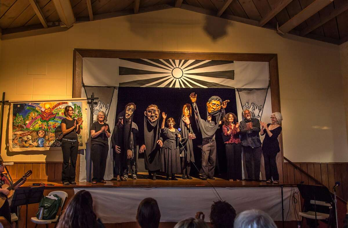 The Iron Heel Collective, with Jack London's great-granddaughter Tarnel Abbott in the center, waving.