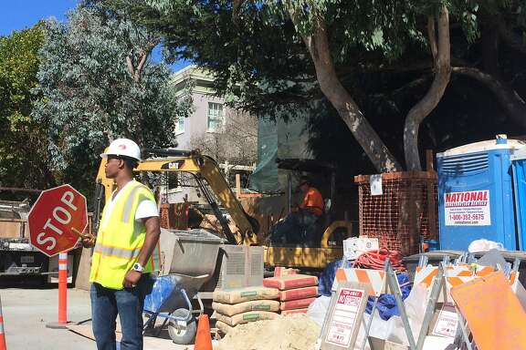 The construction zone outside the Dolores Heights home of Facebook founder Mark Zuckerberg is seen in September of 2014.