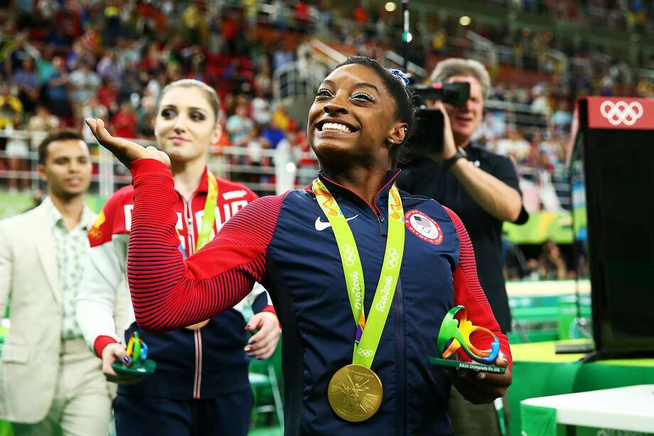 Simone Biles' all-business demeanor cracked into tears after she blew away the competition and carved out a place in Olympic history with her gold-medal performance in the individual all-around competition Thursday at Rio Olympic Arena. Photo: Alex Livesey, Getty Images