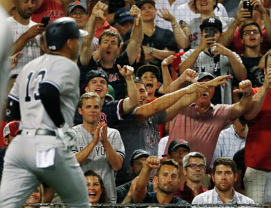 Fans react as New York Yankees' Alex Rodriguez heads back to the dugout after flying out against the Boston Red Sox during the seventh inning of a baseball game at Fenway Park in Boston on Wednesday, Aug. 10, 2016. (AP Photo/Winslow Townson) ORG XMIT: BXF120 Photo: Winslow Townson / FR170221 AP