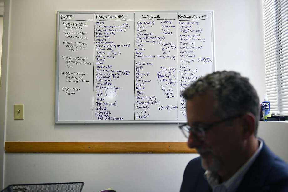 """A white board with a large """"To Do List"""" is seen on the wall in the office of Jeff Kositsky, Director of the Department of Homelessness, in San Francisco, CA Thursday, August 11th, 2016. Photo: Michael Short, Special To The Chronicle"""
