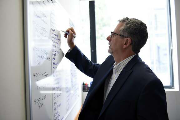 """Jeff Kositsky, director of the Department of Homelessness and Supportive Housing, writes a new item on his white board """"To Do List"""" in his office  in San Francisco, CA Thursday, August 11th, 2016."""