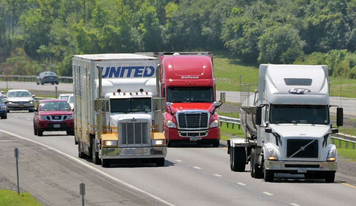 Northbound trucks on the NYS Thruway Thursday Aug. 11, 2016 in Hannacroix, NY. (John Carl D'Annibale / Times Union)