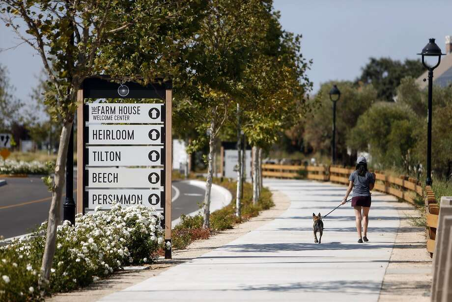 Signs for the housing blocks at the Cannery in Davis. Photo: Scott Strazzante, The Chronicle