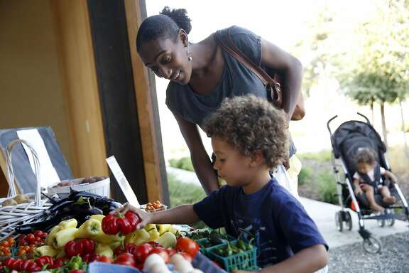 Resident Claudia Sharygin and her son, Sevi, 4, and daughter, Eva Marie, 9 months, visit the farmstand at The Cannery in Davis, Calif., on Thursday, August 11, 2016.