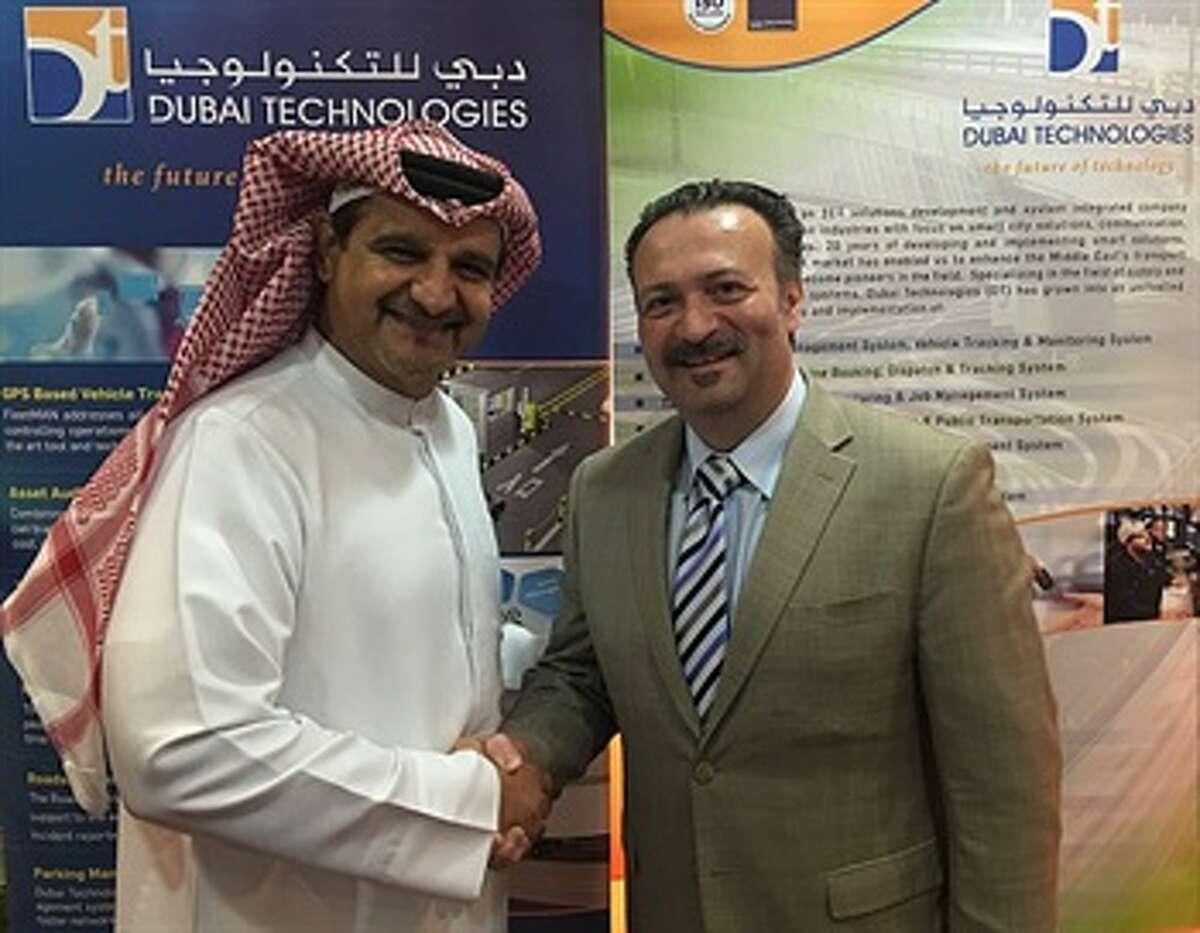 Antonio Civitella, right, with Ahmed Al Rafi, CEO of Dubai Technologies