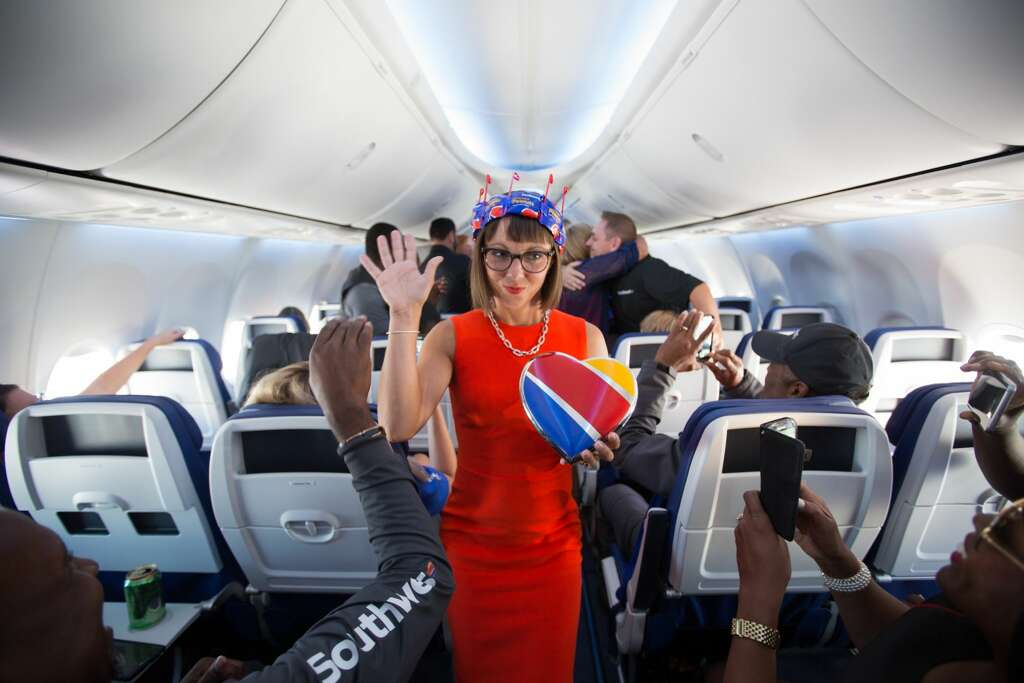Southwest Airlines recently celebrated its new uniforms and interior during an in-flight fashion show at 35,000 feet. (Stephen M. Keller) Photo: Stephen M. Keller, Southwest Airlines