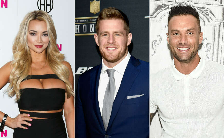 Rumor has it that model Lindsey Pelas (left), who famously said she wanted to date J.J. Watt (center) last year, is now dating TV personality Calum Best (right).