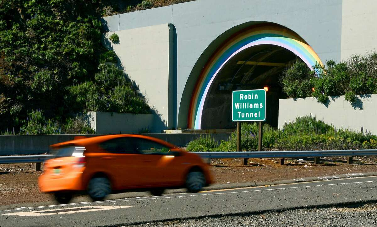 Robin Williams Tunnel, Sausalito Somewhere under the rainbow: A tunnel with rainbow arches in Sausalito connects the Golden Gate Bridge to greater Marin County and is officially now the Robin Williams tunnel. The tunnel was unofficially known as the Waldo Tunnel. The California State Senate last year approved a resolution to change the tunnel's name to honor the late actor and comedian. Williams grew up and lived in the Bay Area.