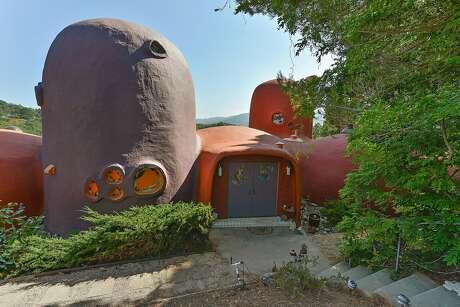 "45 Berryessa Way in Hillsborough, also known as the ""Flintstone House."""