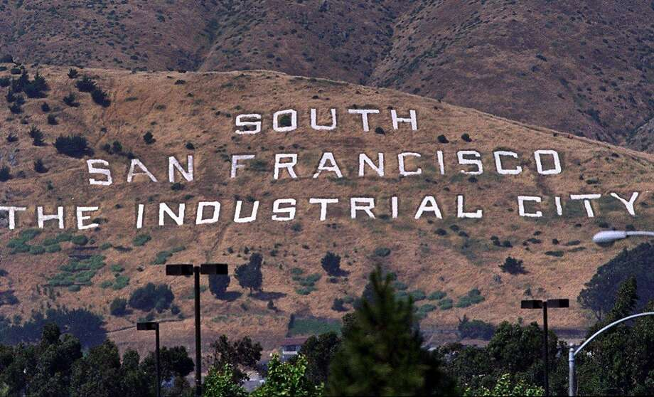 "The ""Industrial City"" sign on San Bruno Mountain was vandalized Friday. Photo: FREDERIC LARSON"