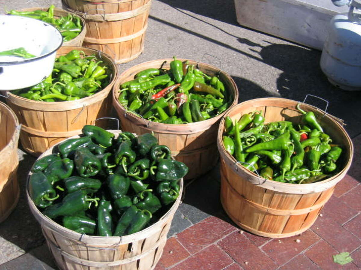 Freshly harvested Hatch chiles at the Santa Fe, N.M., farmers market.