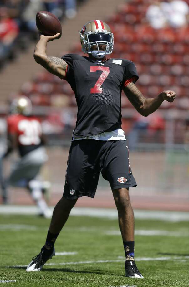 Colin Kaepernick during practice at Kezar Stadium on Wednesday. Photo: Ben Margot, Associated Press
