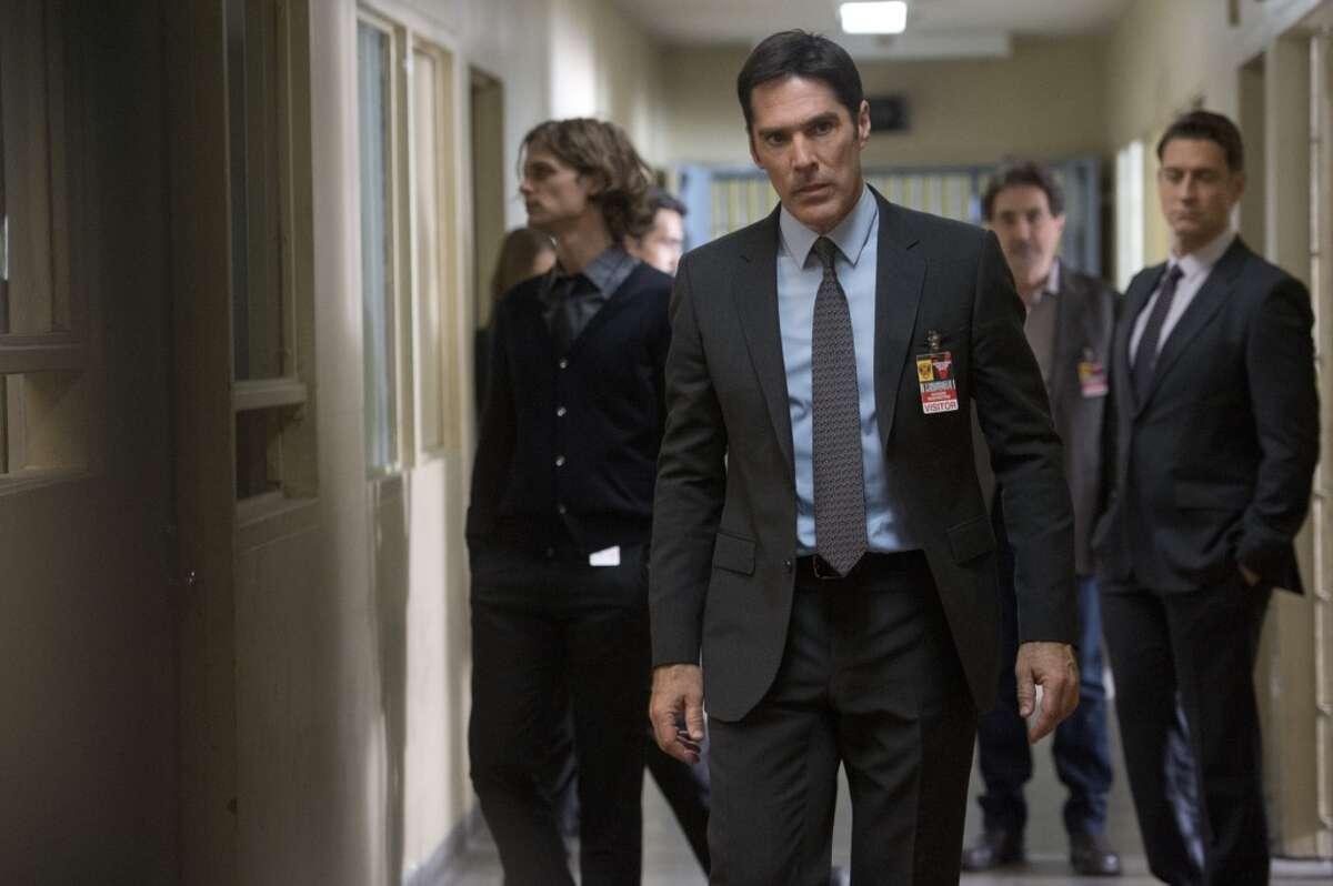 "Matthew Gray Gubler as Dr. Spencer Reid, Thomas Gibson as Aaron Hotchner, Joe Mantegna as David Rossi, Robert Gant as Warden Miles Tate on ""Criminal Minds."""