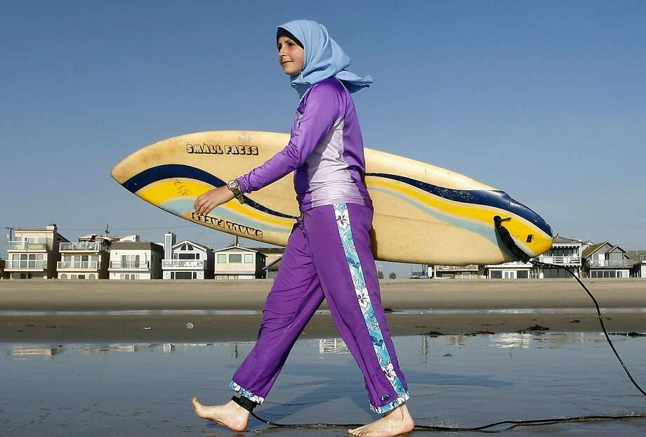 In this 2007 photo taken in Newport Beach (Orange County), Sama Wareh wears full-body swimwear designed for Muslim women. The French city of Cannes has banned the suits. Photo: Chris Carlson, AP