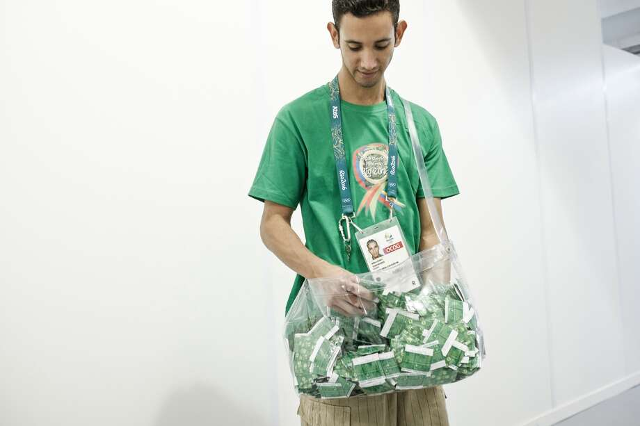 A man delivering condoms at the Polyclinic of the Olympic and Paralympic Village for the 2016 Rio Olympic Games in Rio de Janeiro, Brazil, on July 23, 2016.