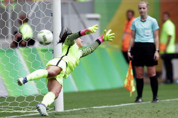 United States goalkeeper Hope Solo fails to stop a penalty during a penalty shoot-out in the quarter-final match of the women's Olympic football tournament between the United States and Sweden in Brasilia Friday Aug. 12, 2016. The United States was eliminated by Sweden after a penalty shoot-out.(AP Photo/Eraldo Peres)