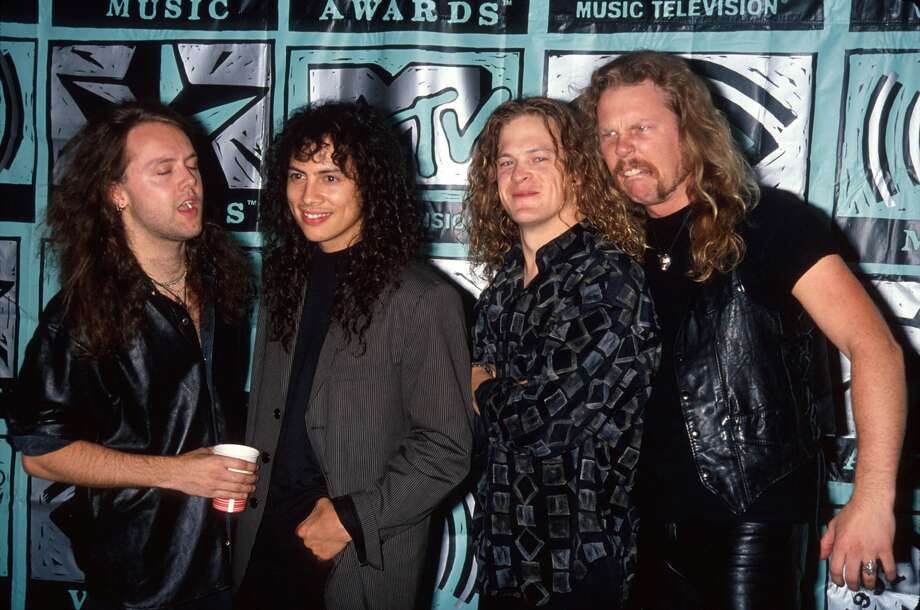 Members of metal band Metallica's 1991 lineup (L-R): Lars Ulrich, Kirk Hammett, James Hetfield and Jason Newsted. See the following slides for Metallica through the years.