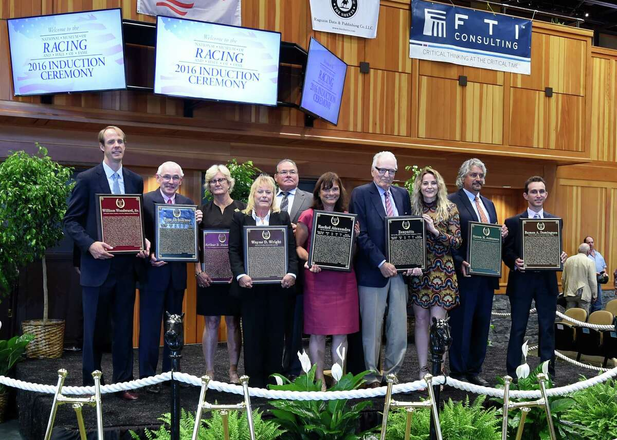 The Class of 2016 of inductees of the National Museum of Racing and Hall of Fame lines up at the Fasig-Tipton sales pavilion Friday Aug. 12, 2016 in Saratoga Springs, N.Y. (Skip Dickstein/Times Union)