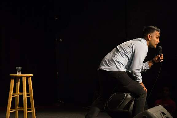 Sanjay Manaktala performs his standup routine during the Desi Comedy Fest at Cobb's Comedy Club in San Francisco, Calif. on Thursday, Aug. 11, 2016. Comedians are using new technology such as virtual reality to present comedy in a new way.