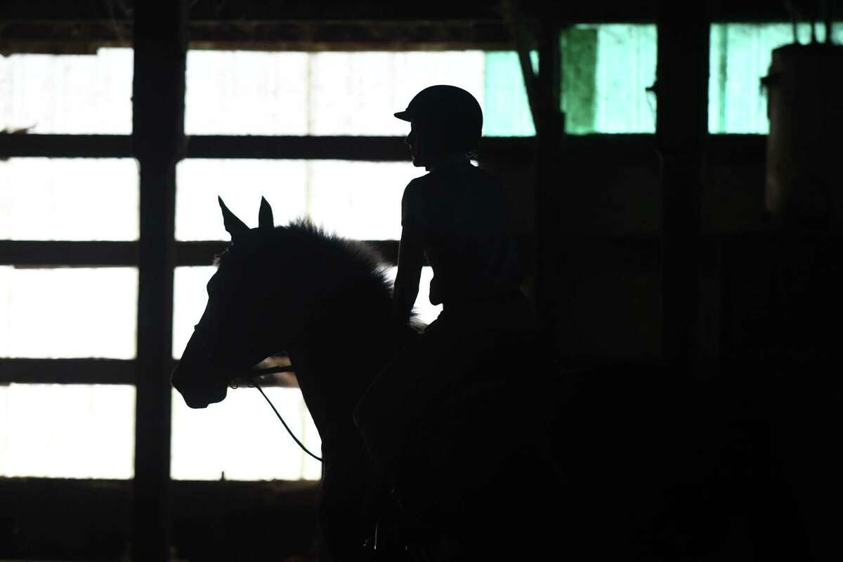 Theresa Lang of Ballston Spa, aboard Game Changer, warms up at the Dutch Manor Stables indoor ring on Friday, Aug. 12, 2016, in Guilderland, N.Y. (Will Waldron/Times Union)