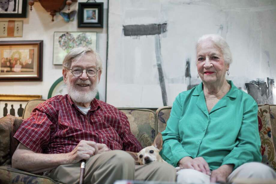 Henri Gadbois and Leila McConnell pose for a portrait in their home Thursday July 21, 2016. The two painters reside in Houston and will have work featured in an upcoming art show. (Michael Starghill, Jr.)Henri Gadbois and Leila McConnell pose for a portrait in their home Thursday July 21, 2016. The two painters reside in Houston and will have work featured in an upcoming art show. (Michael Starghill, Jr.) Photo: Michael Starghill, Jr., Photographer / © 2016 Michael Starghill, Jr.