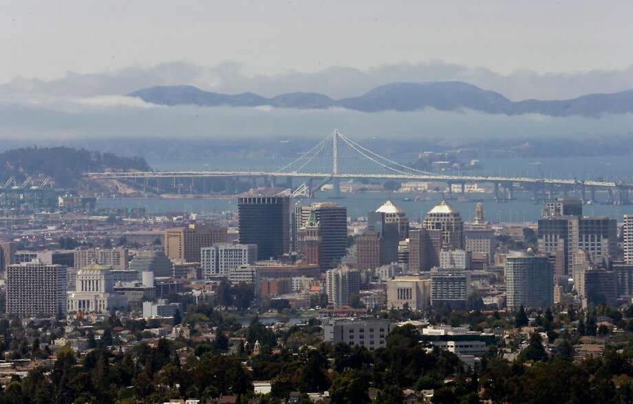 Looking across the bay to the skyline of Oakland, the Bay Bridge and the Marin Headlands from the hills of Oakland, California  on Fri. Aug. 12, 2016. Photo: Michael Macor, The Chronicle
