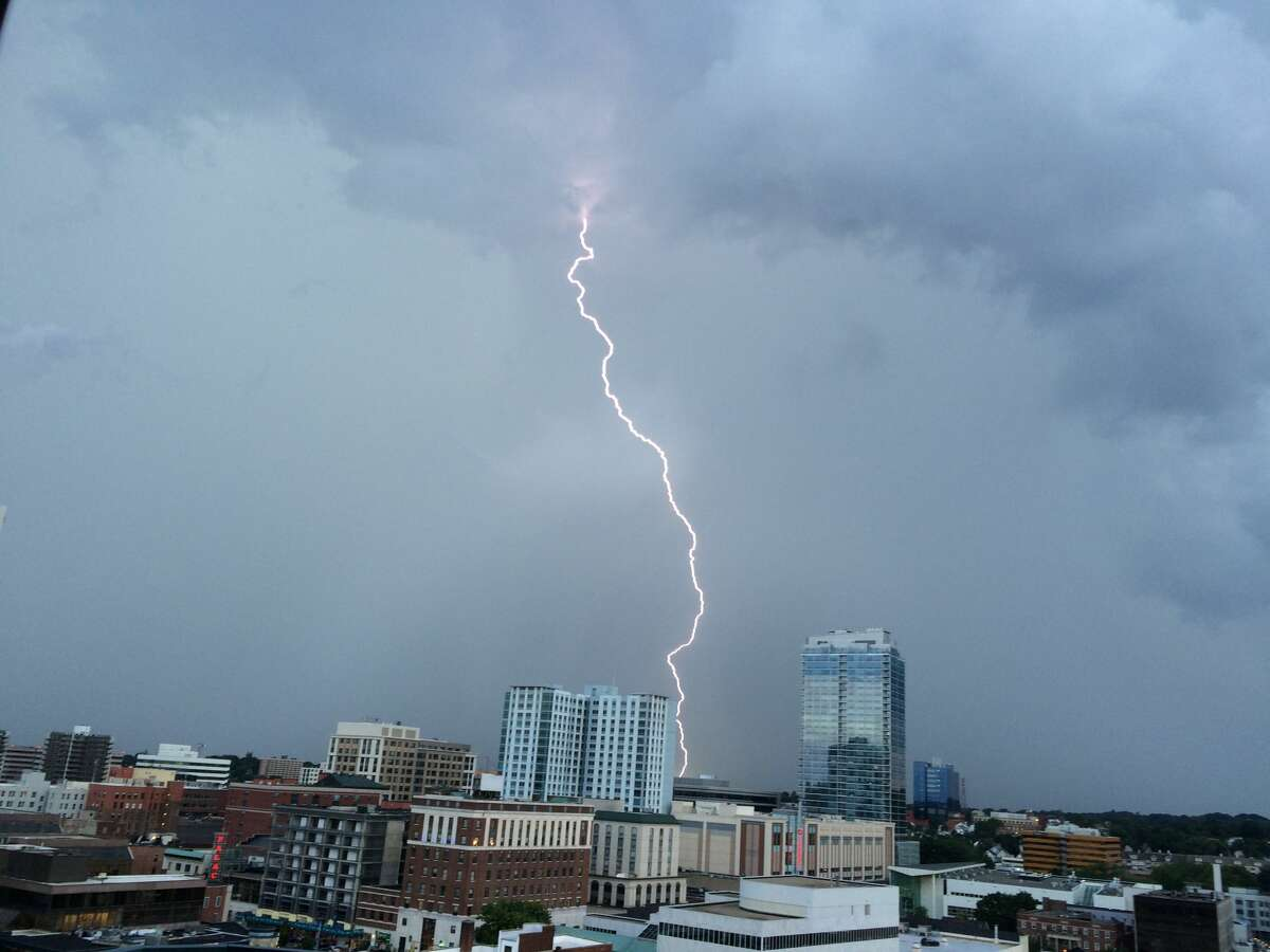 Steve Cannatook this photo from the balcony of his condo in downtown Stamford during the storm Thursday night.