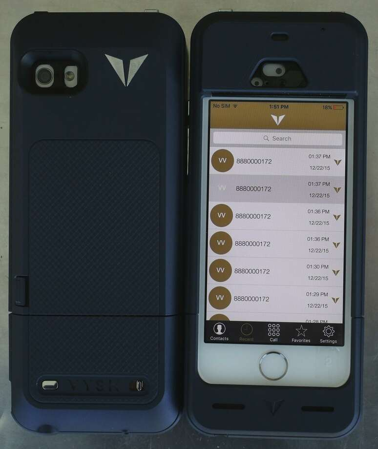 A Vysk Communications smartphone case, as pictured in 2015. Photo: John Davenport /San Antonio Express-News / ©San Antonio Express-News/John Davenport