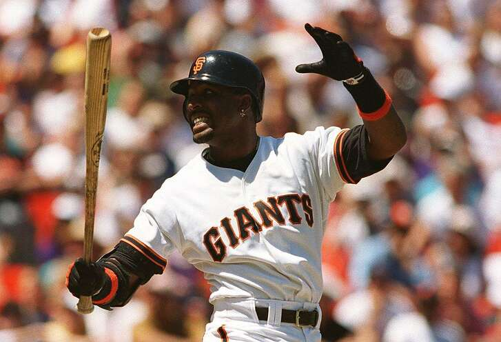 GIANTS 3/C/28APR96/SP/MACOR       Giants Barry Bonds fouls one off in Sunday's game against Florida.   Chronicle Photo: Michael Macor