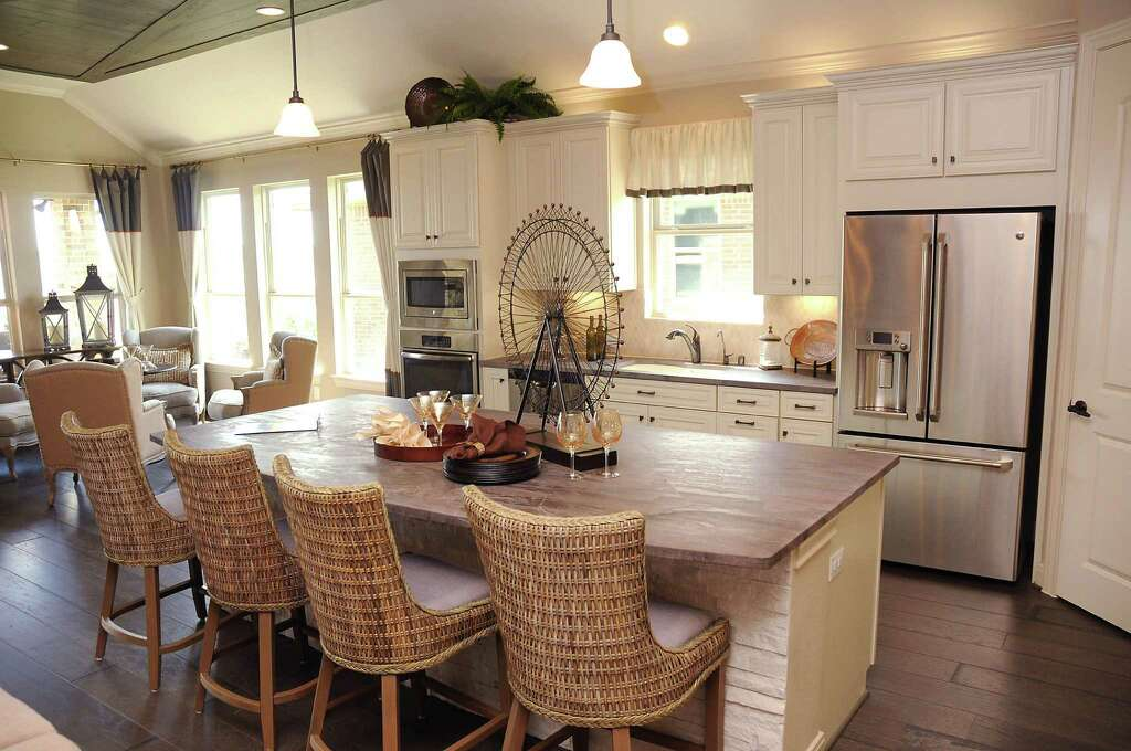 The kitchen in one of the model homes at Bonterra at Cross Creek Ranch in  Fulshear