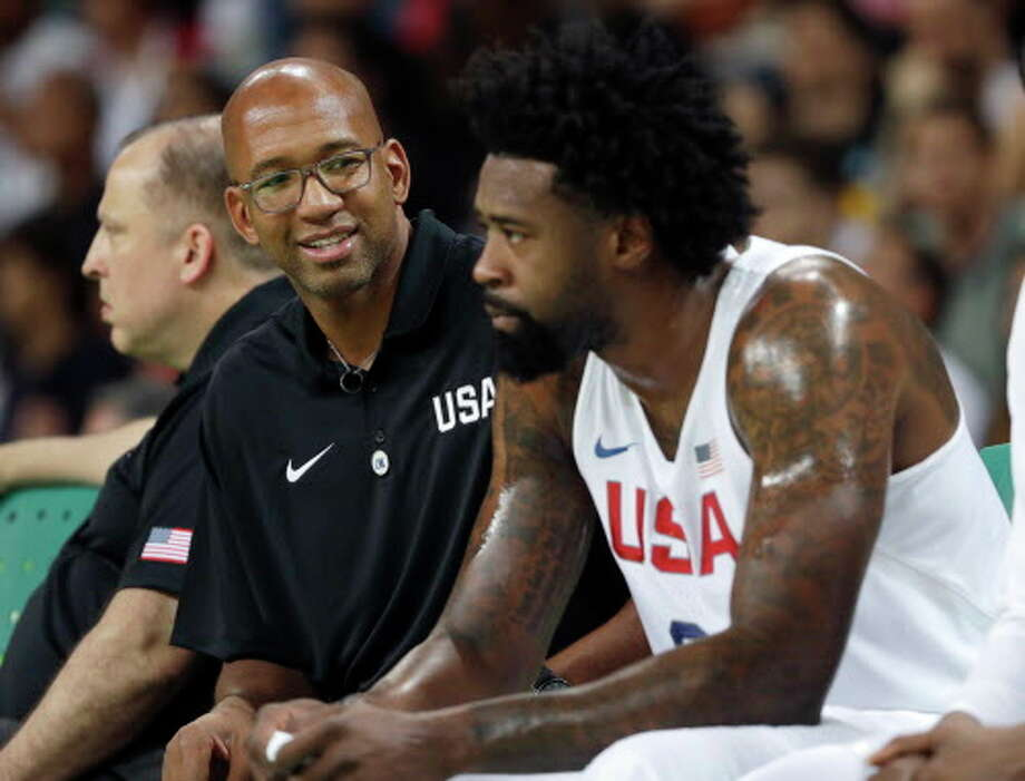 United States assistant coach Monty Williams, left, talks with DeAndre Jordan right, during a men's basketball game against Serbia at the 2016 Summer Olympics in Rio de Janeiro, Brazil, Friday, Aug. 12, 2016. (AP Photo/Eric Gay) Photo: Eric Gay/Associated Press