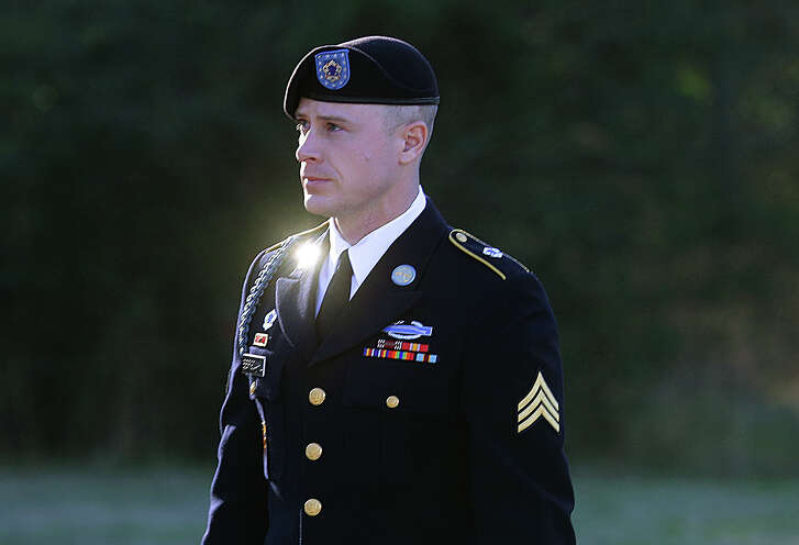 FILE - In this Jan. 12, 2016, file photo, Army Sgt. Bowe Bergdahl arrives for a pretrial hearing at Fort Bragg, N.C. An Oscar-winning filmmaker has asked a judge to prevent the military from forcing him to turn over interviews with Bergdahl, adding Hollywood intrigue to the soldier's prosecution on desertion accusations. Attorneys for screenwriter Mark Boal filed a complaint Wednesday, July 20 in a California federal court seeking to block a subpoena from North Carolina-based military prosecutors. The complaint says the prosecutors intend to issue their demand on Friday for 25 hours of audio recordings of Boal and Bergdahl. (AP Photo/Ted Richardson, File)