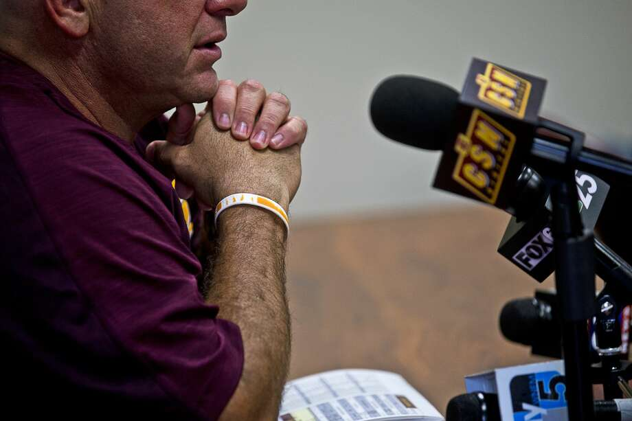 Central Michigan Football's head coach John Bonamego talks to media during Central Michigan University's Football Media Day on Friday at Kelly/Shorts Stadium. Photo: Erin Kirkland/Midland Daily News/Erin Kirklamd