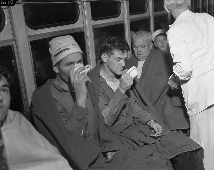 Survivors of the sinking of the hospital ship USS Benevolence after collision with the SS Mary Luckenbach in the fog off the Golden Gate, Aug 25 1950.  Includes arrival at Fort Mason and Pier 33.  Chronicle staff photographs, scanned from negatives. Photogs included: Bob Campbell, Ken McLaughlin, Bill Young, Barney Peterson, Allan Campbell.