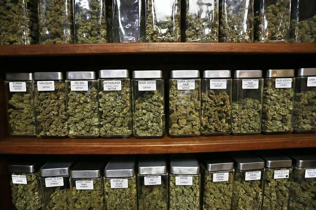 Glass containers display varieties of marijuana for sale on shelves at The Station, a retail and medical cannabis dispensary, in Boulder, Colo., Thursday, Aug. 11, 2016. The DEA announced Thursday, Aug. 11, 2016 that the Obama administration will keep marijuana on the list of the most dangerous drugs, despite growing popular support for legalization, but will allow more research into its possible medical benefits. (AP Photo/Brennan Linsley)