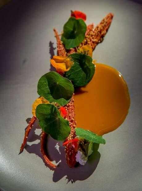 Carrot, sour curd and pickled pine at In Situ in San Francisco. Photo: John Storey, Special To The Chronicle