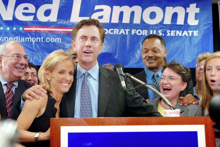 Ned Lamont and his wife Annie celebrate on Aug, 8, 2006 after he secured the Democratic Senate nomination with a primary upset over Sen. Joe Lieberman. Lieberman ended up winning the general election, but Lamont looked back fondly on his shocking upset 10 years after it happened. Photo: Keelin Daly / Staff File Photo