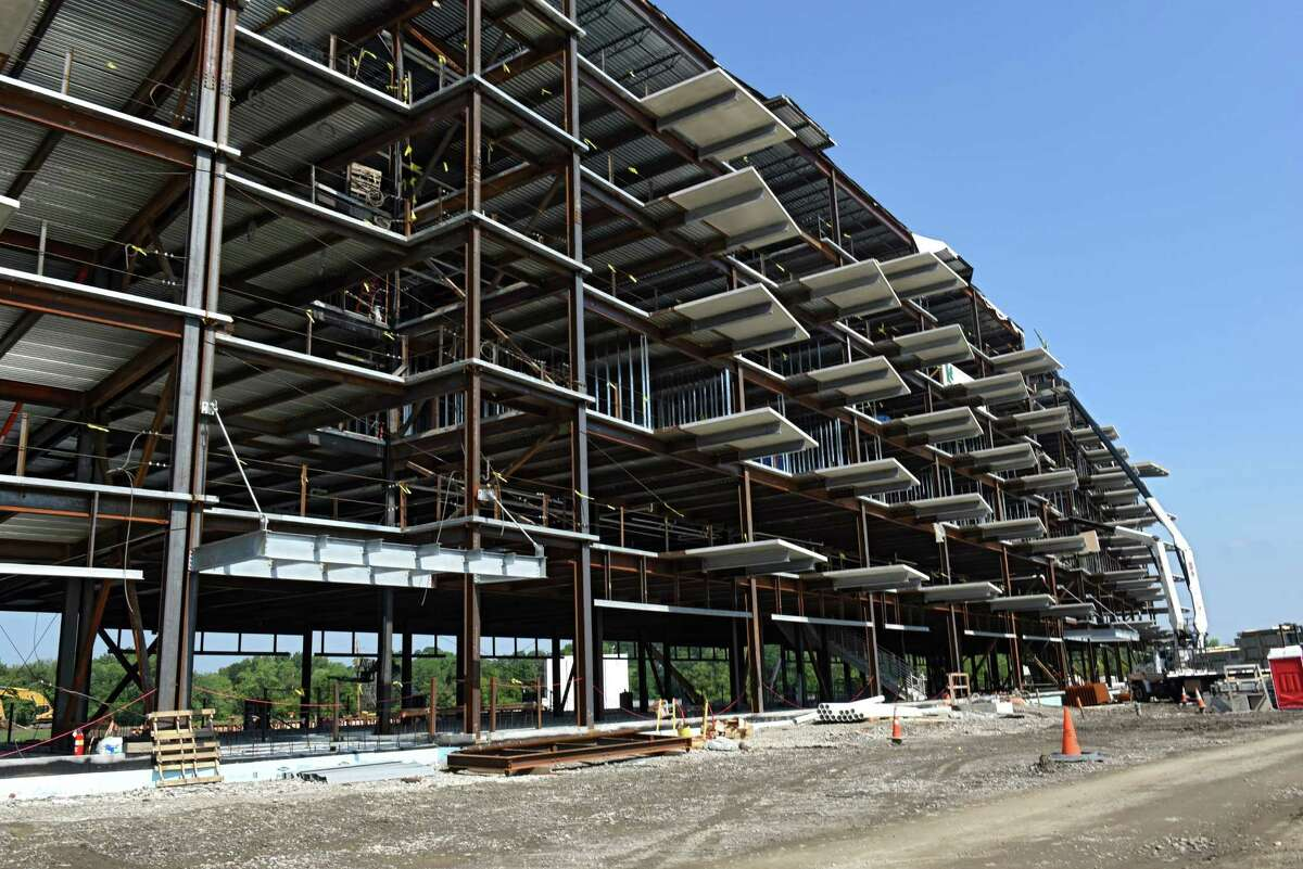 Construction continues on The River House Apartments near the Rivers Casino and Resort at Mohawk Harbor on Thursday, Aug. 11, 2016 in Schenectady, N.Y.(Lori Van Buren / Times Union)